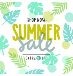 summer sale poster tropical leaves vector image