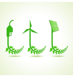 Eco icon with nozzlewind-mill and solar panel vector