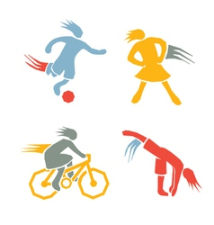 Active girls fitness sports set 3 vector image