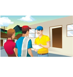 Farmers making business in front of house man vector