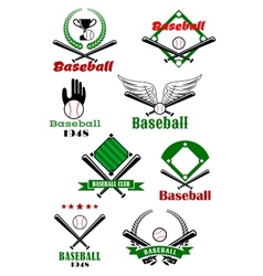 Baseball game sporting emblems and symbols vector image