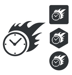 Burning clock icon set monochrome vector