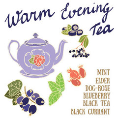 Delicious autumn warm evening tea recipe vector