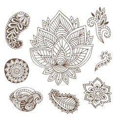 Hand drawn indian ornaments collection vector