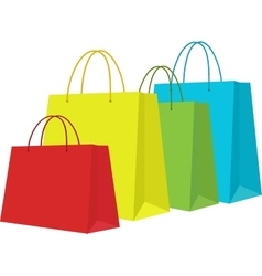 Set of colorful shopping bags isolated in white vector