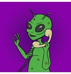 Alien talking phone pop art style vector image vector image