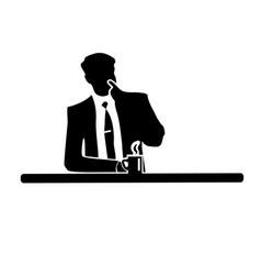 Businessman silhouette of a man in a suit and tie vector