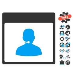Call center manager calendar page icon with vector