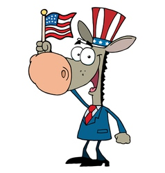 Cartoon Donkey Waving An American Flag vector image vector image