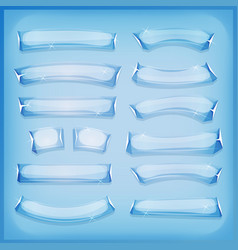 Cartoon glass ice and crystal banners vector