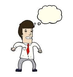 Cartoon nervous businessman with thought bubble vector
