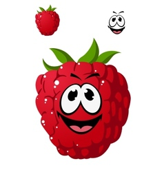 Cartoon ripe red raspberry with a cheeky grin vector