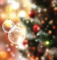 christmas baubles on defocussed lights background vector image