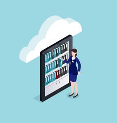 Cloud documents storage isometric design vector
