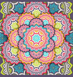 Ethnic floral seamless pattern with mandalas vector
