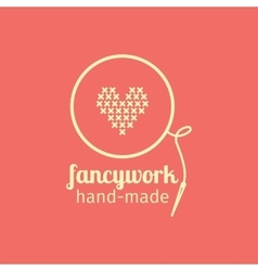 Fancywork handmade thin line icon vector image