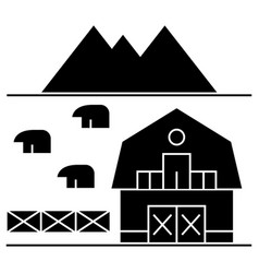 Farm in tuscany icon sign o vector