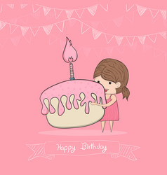 girl with birthday cupcake drawing by hand vector image vector image