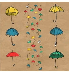Hand drawn set of colorful umbrellas vector image