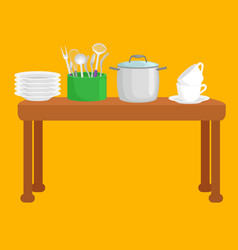 kitchen accessories set isolated cooking domestic vector image