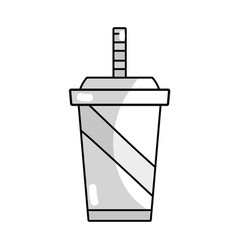Line delicious refreshment in the plastic cup to vector