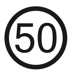 Maximum speed limit 50 line icon vector