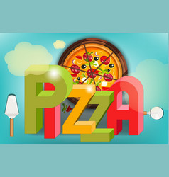 Pizza food menu vector