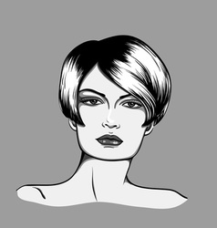 Portrait of a woman with short hair vector image