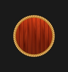 round wooden frame with rope isolated on dark vector image vector image