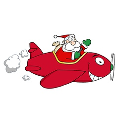 Santa Flying With Christmas Plane vector image vector image