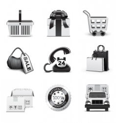 shopping icons | bw series vector image vector image