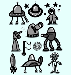 space icon set vector image vector image