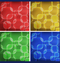 Square shapes on four colors backgrounds vector