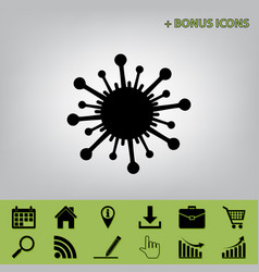 Virus sign black icon at vector