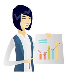 Young asian business woman showing financial chart vector