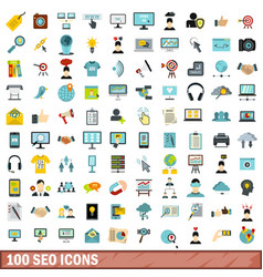 100 seo icons set flat style vector image