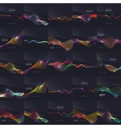 Set of futuristic colorful waves and lines on dark vector image