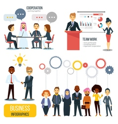 Teamwork And Partnership Business Infographics Set vector image