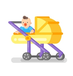Flat style of baby in the stroller vector