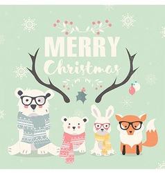 Merry christmas card bears rabbit fox antlers vector
