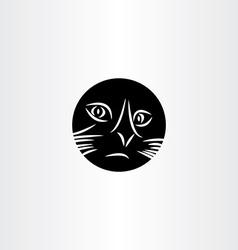 Black cat face circle icon symbol vector