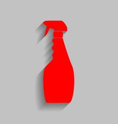 Plastic bottle for cleaning  red icon with vector