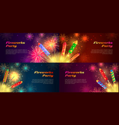 Colourful exploding rockets on bright background vector