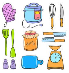 Kitchen set accessories doodle collection vector