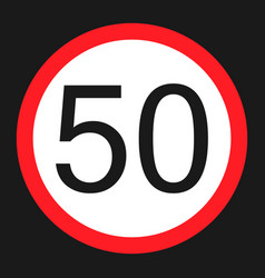 Maximum speed limit 50 flat icon vector