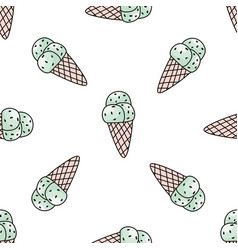 Seamless pattern with mint ice cream trendy vector