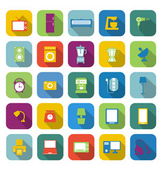 household color icons with long shadow vector image