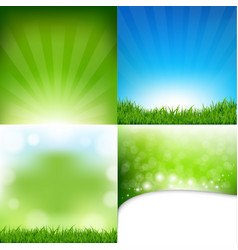 Nature posters set with bokeh vector