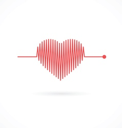 Heartbeat with heart shape vector