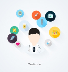 Doctor character with medicine icons vector